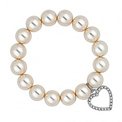 Red Herring - Heart charm and pearl chain stretch bracelet