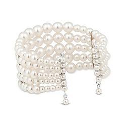 Red Herring - Graduated cream pearl cuff bracelet