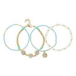 Red Herring - Set of four seed bead friendship bracelets