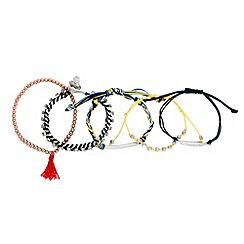 Red Herring - Set of five embellished friendship bracelets