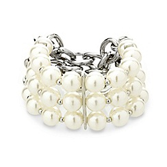 Red Herring - Pearl and curb chain stretch bracelet