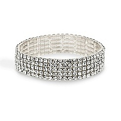 Red Herring - Diamante crystal five row stretch bracelet