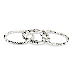 Red Herring - Set of three diamante and baguette stretch bracelets