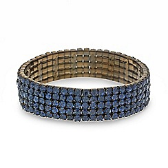 Red Herring - Blue diamante crystal five row stretch bracelet