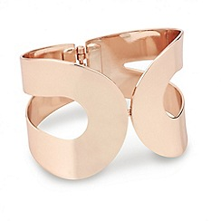 Red Herring - Rose gold curved wave hinged bangle