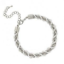 Red Herring - Pearl and silver metal twist bracelet