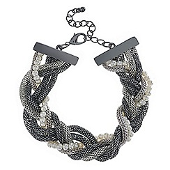 Red Herring - Pearl and mesh chain twist bracelet