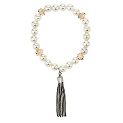 Red Herring - Pearl and facet bead tassel stretch bracelet