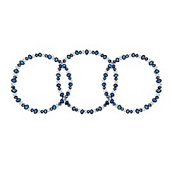 Red Herring - Set of three fine blue bead stretch bracelets