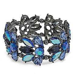 Red Herring - Metallic blue cluster stone stretch bracelet