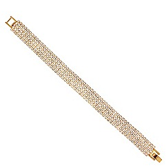 Red Herring - Diamante crystal gold five row bracelet