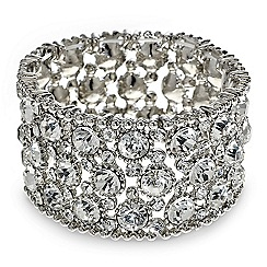 Red Herring - Statement diamante round stone stretch bracelet
