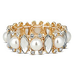 Red Herring - Pearl and crystal navette stretch bracelet