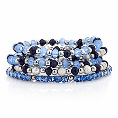 Red Herring - Blue mix bead and diamante stretch bracelet pack