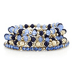 Red Herring - Blue  bead and diamante stretch bracelet pack