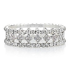 Red Herring - Diamante diamond shape centre stretch bracelet