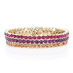 Red Herring - Set of three pink tonal diamante coil bracelets