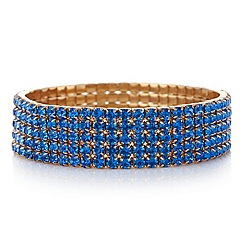 Red Herring - Gold plated blue diamante stretch bracelet