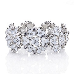 Red Herring - White flower and crystal cluster stretch bracelet