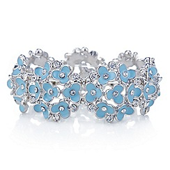 Red Herring - Blue flower and crystal cluster stretch bracelet