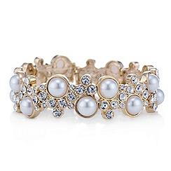 Red Herring - Gold bubble style pearl and crystal stretch bracelet