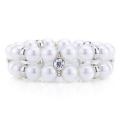 Red Herring - Statement pearl and crystal two row stretch bracelet