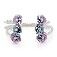 Red Herring - Pretty pearl flower bangle multipack