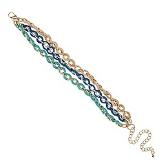 Red Herring - Fabric plaited gold chain bracelet