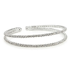 Red Herring - Diamante two row silver cuff bracelet
