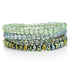 Red Herring - Green crystal beaded stretch bracelet pack
