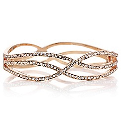 Red Herring - Rose gold crystal wave bangle