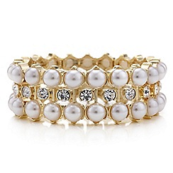 Red Herring - Pearl and crystal gold stretch bracelet