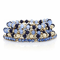 Red Herring - Gold and blue bead stretch bracelet pack