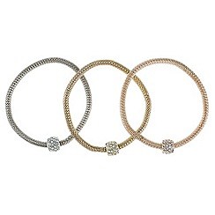 Red Herring - Multi tone three pack pave barrel bracelets