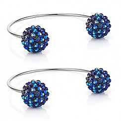 Red Herring - Metallic blue starburst set of two open cuff bracelets