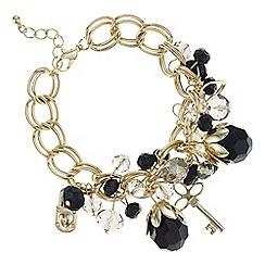 Red Herring - Gold beaded multi charm bracelet