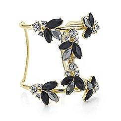 Red Herring - Gold tonal jet statement cuff bracelet