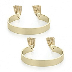 Red Herring - Set of two gold tassel bangle