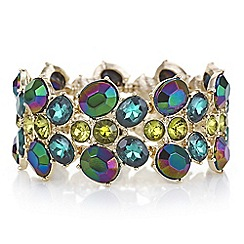Red Herring - Metallic green crystal stretch bracelet