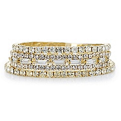 Red Herring - Gold pack of three crystal stretch bracelet
