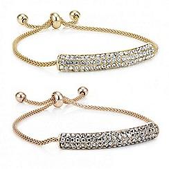 Red Herring - Multi tone crystal toggle bracelet set