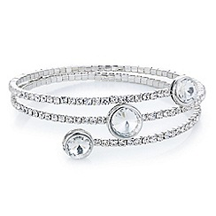 Red Herring - Silver crystal multi row coil bracelet