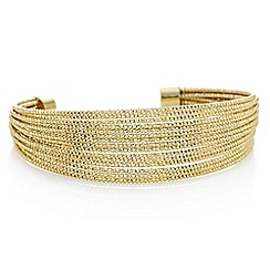 Red Herring - Gold multi row textured cuff bracelet