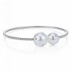 Red Herring - Silver diamante crystal pearl coil bracelet