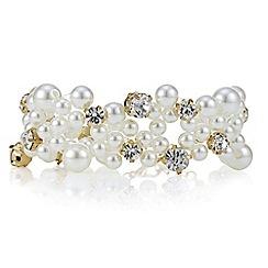 Red Herring - Crystal and pearl loop stretch bracelet
