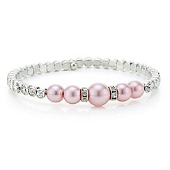 Red Herring - Pink pearl and crystal coil bracelet