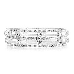 Red Herring - Silver crystal open diamante bracelet