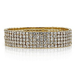 Red Herring - Gold diamante crystal stretch bracelet