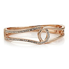 Red Herring - Rose gold crystal open swirl bangle