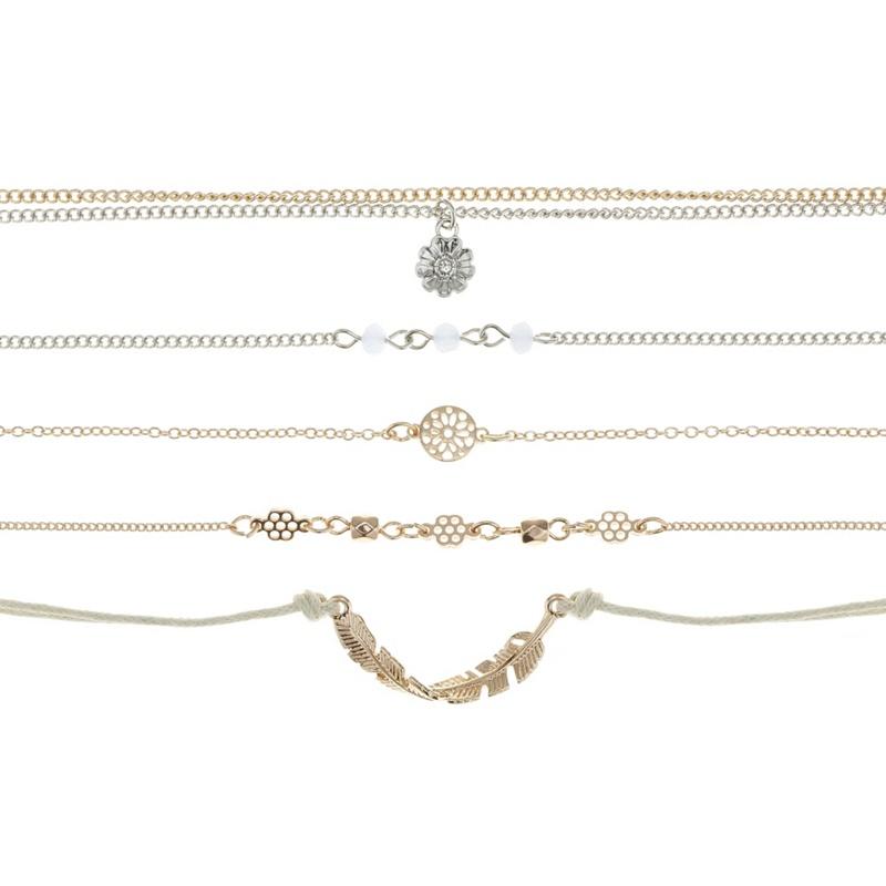 Red Herring Rose Gold Charm Bracelet Set, Womens,